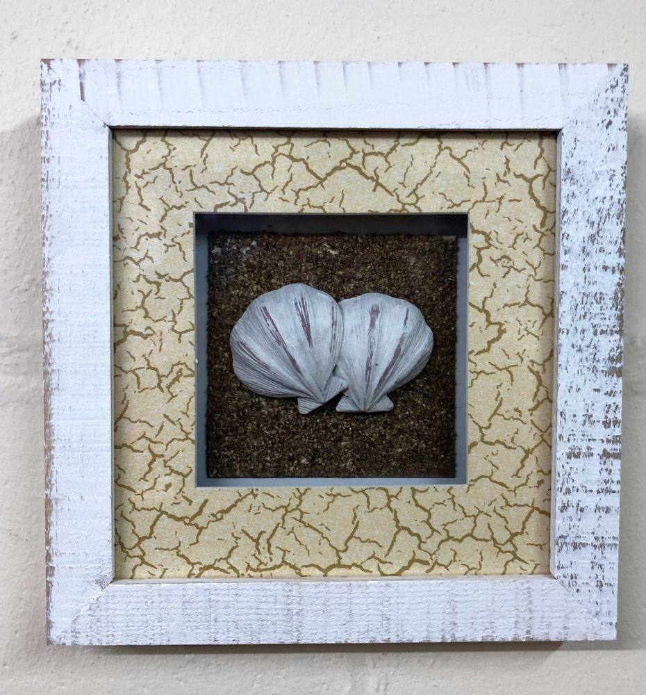 Sea Shell In White Wash Distressed Wooden Frame Nautical Wall Decor